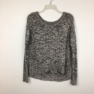 AEO Black Gray White Marled Silver Metallic Scoop Neck Ling Sleeve Sweater. S